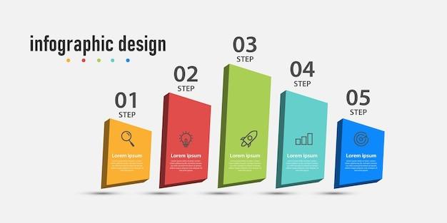 Grafiki z informacjami biznesowymi oś czasu szablonu 3d z opcjami 5 kroków może być wykorzystana do diagramu przepływu pracy