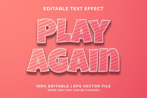 Graj znowu edytowalny efekt tekstowy 3d premium wektor
