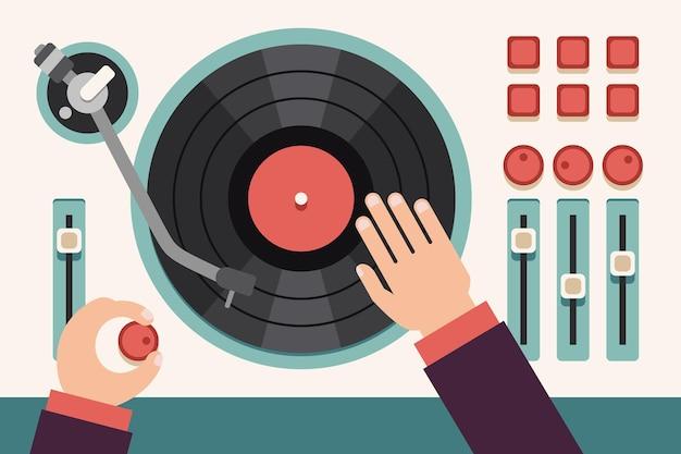 Gramofon z rękami dj