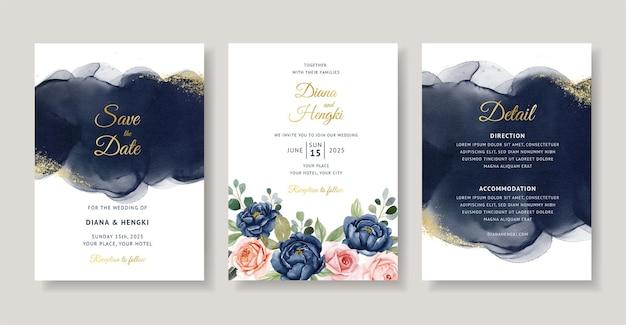 Granatowa akwarela zaproszenie na ślub
