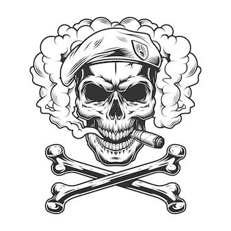 Granatowa czaszka foki nosząca beret i palące cygaro