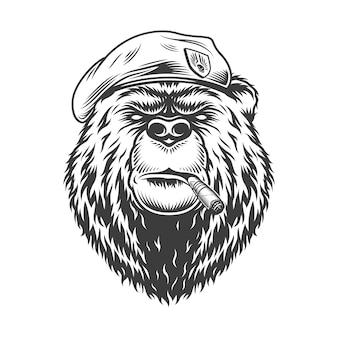 Granatowa głowa niedźwiedzia w berecie