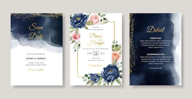 Granatowa karta zaproszenie na ślub akwarela z kwiatową ramą