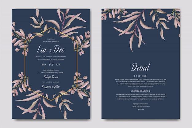 Granatowy i złoty ślub szablon zaproszenia karty papeterii z liści ramki