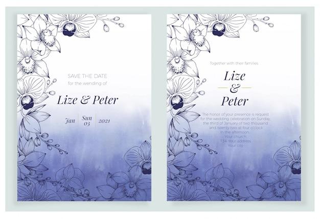 Granatowy klasyczny niebieski szablon zaproszenia ślubne z ramą kwiatowy akwarela