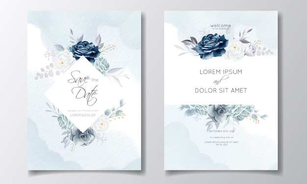 Granatowy kwiatowy karta zaproszenie na ślub szablon ze złotymi liśćmi i akwarelą