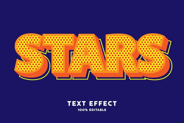 Granatowy pop-art z efektem tekstowym w kolorowy wzór gwiazdy
