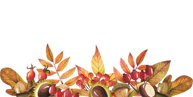 Granica jesiennych liści namalowana akwarelą, projekt jesień.