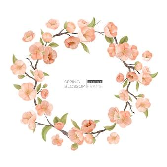 Granica kwiat wiśni, realistyczne wiosenne kwiaty, liście i gałąź okrągła ramka na białym tle. element projektu na zaproszenie na ślub, kartkę z życzeniami, szablon transparent lub plakat. ilustracja wektorowa