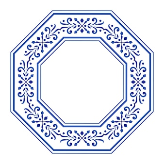 Granica oktagonu, ramka ceramiczna, niebiesko-biała, dekoracyjna okrągła kwiatowa,