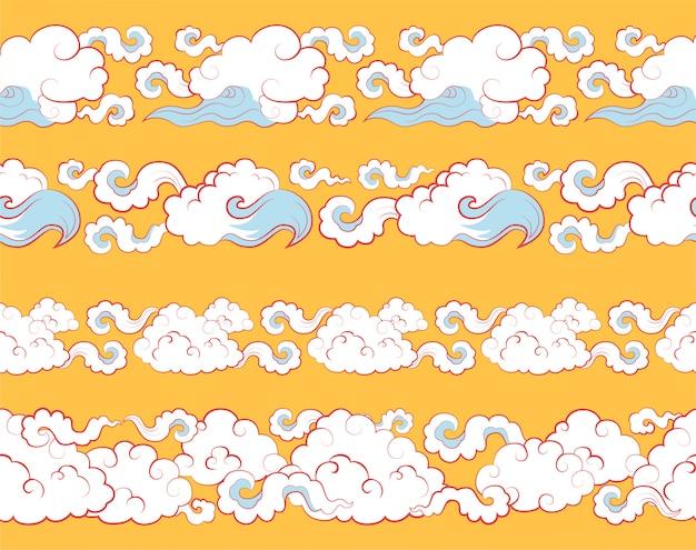 Granica z chmurami w tradycyjnym chińskim stylu.