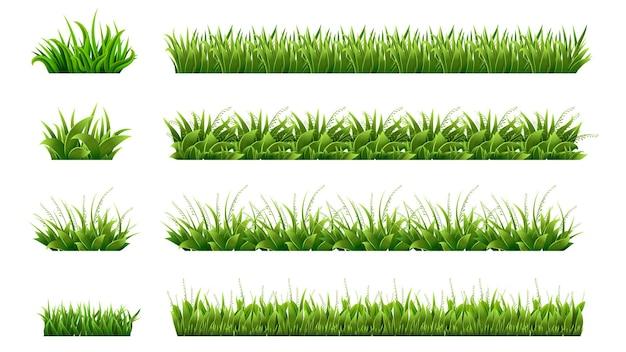 Granica zielona trawa. trawniki zagospodarowane, łąki clipart. na białym tle organiczne kształty trawników, liście i elementy ogrodowe. realistyczna wiosna lato natura ilustracja. liście ekologiczne ekologiczne, naturalne pole