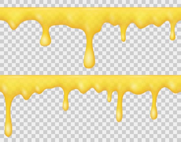 Granice kapiącego płynnego miodu, syropu lub żółtego karmelu na przezroczystym tle. wektor realistyczny zestaw topnienia złotego miodu, sosu lub słodkiej śmietany. jednolity wzór płynących kropli