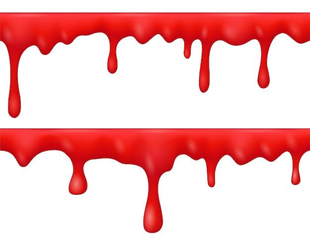 Granice kapiącej krwi, ciekłej czerwonej farby, sosu lub keczupu na przezroczystym tle. wektor realistyczny zestaw krwawych wycieków, przepływy krwi z kropli. straszny wzór na halloween