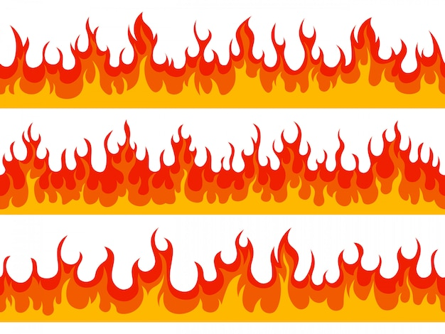Granice płomienia. baner płonący ogniem, płomienie ognia sylwetka łatwopalne elementy, zestaw ilustracji gorącej płonącej granicy. ogień ciepło, gorąca linia graniczna, szczegółowe szalejące łatwopalne
