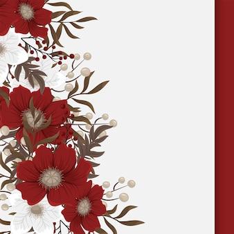 Granice stron fower - czerwone, jasnoniebieskie, białe kwiaty