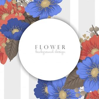 Granice strony z kwiatami - niebieskie i czerwone kwiaty