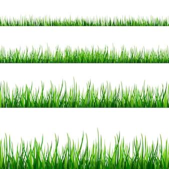 Granice trawy ustawione na białym tle