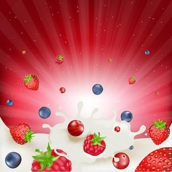 Granicy mix berry z siatką gradientu, ilustracji