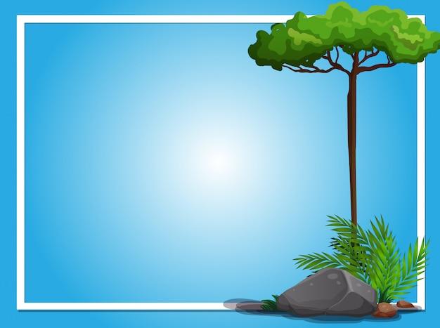 Graniczny Szablon Z Drzewem I Skałą Darmowych Wektorów