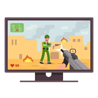Granie w grę komputerową na komputerze. strzelać w grach. domowa rozrywka pionowa. mieszkanie