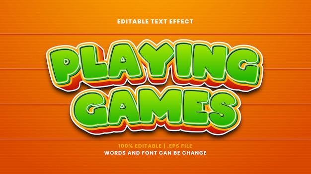 Granie w gry edytowalny efekt tekstowy w nowoczesnym stylu 3d
