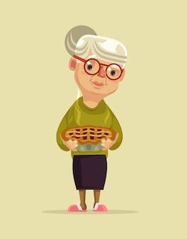 Granny charakter trzymać ilustracja ciasto