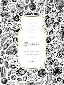 Granola vintage. ilustracja zdrowe śniadanie grawerowane styl. domowa muesli z różnymi jagodami, płatkami zbożowymi, suszonymi owocami i ramką z orzechów. szablon zdrowej żywności ze złotymi elementami