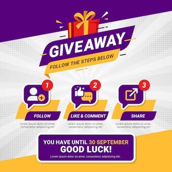 Gratisowe kroki dotyczące koncepcji projektu konkursu w mediach społecznościowych