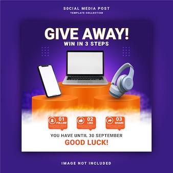 Gratisy na inteligentne słuchawki laptop i telefon wygraj trzy kroki baner na instagramie post w mediach społecznościowych