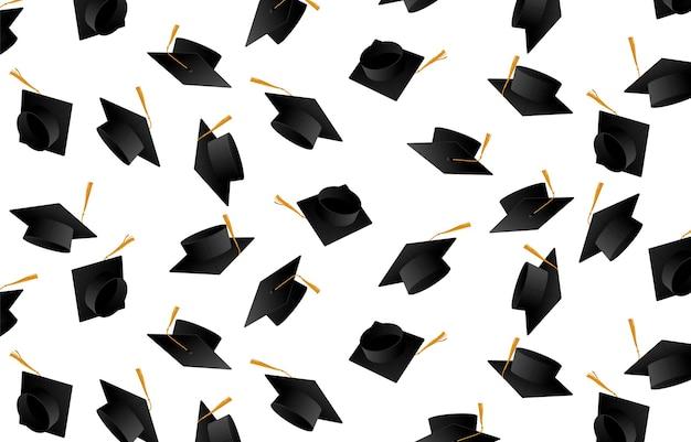 Gratulacje absolwentom. czapki dla absolwentów. czapki wyrzucone w górę