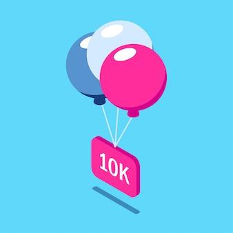 Gratulacje dla obserwujących. wielobarwne balony podnoszą znak z napisem