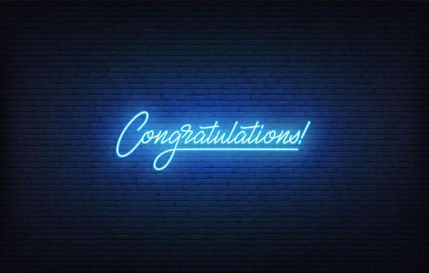 Gratulacje neonowy znak. świecący neon z napisem gratulacje szablon.