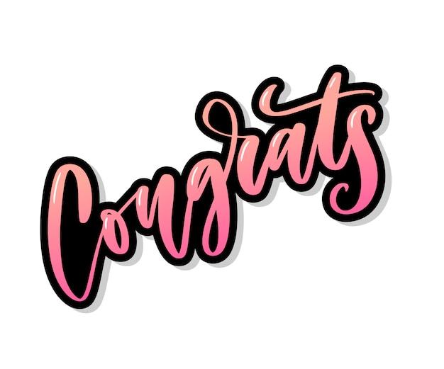 Gratulacje odręczny napis z kartą z gratulacjami, kartką z życzeniami, zaproszeniem i drukiem. pojedynczo na tle. hasło reklamowe