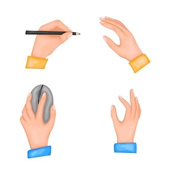 Gratulacje z okazji międzynarodowego dnia lewicowców. ilustracja dwóch rąk. w lewej ręce pióro lub ołówek i mysz komputerowa. pojedynczo na białym tle.