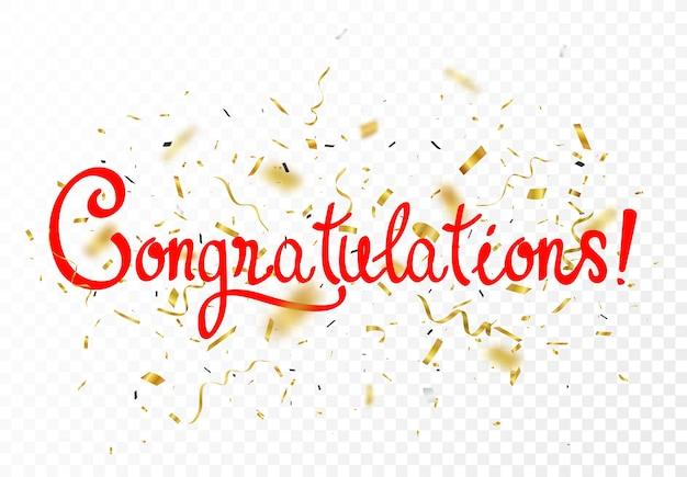 Gratulacje, znak listów transparent z konfetti