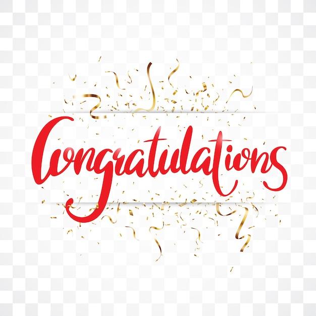 Gratulacje znak listów transparent z złotym konfetti