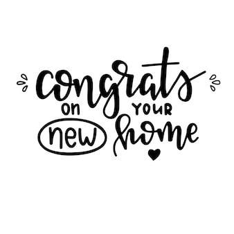 Gratulujemy nowego domu ręcznie rysowane plakat typografii. koncepcyjne wyrażenie odręczne, ręcznie napisane kaligraficzne projekt.
