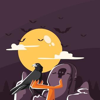 Grave guardian crow