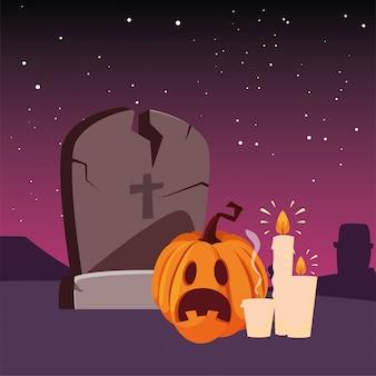 Gravestone dyniowe świeczki szczęśliwy halloween