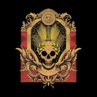 Grawerowana ilustracja czaszki miecza
