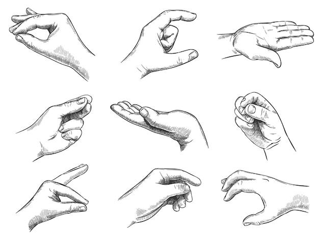 Grawerowane gesty trzymania dłoni