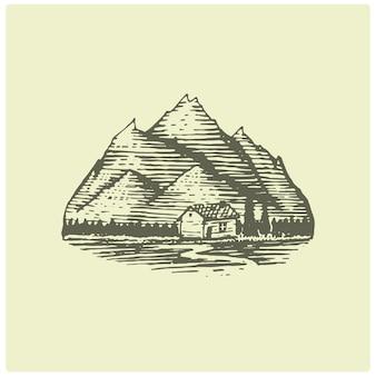 Grawerowane logo vintage z górami w ręku, styl szkicu, staro wyglądająca odznaka retro dla parków narodowych i kempingu, motyw alpejski i turystyczny