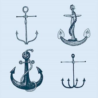 Grawerowane w stylu vintage kotwica w starym ręcznie rysowanym stylu lub tatuaż, rysunek morski, wodny lub morski, drewno, niebieskie logo