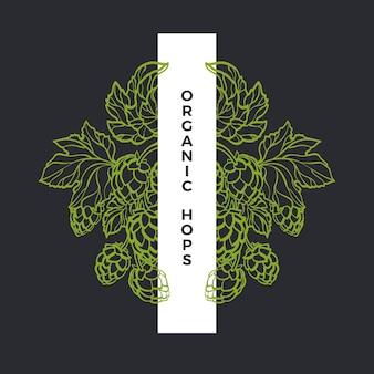Grawerowanie chmielu wzór natury naturalny liść i zielony stożek ramka z linii botanicznej