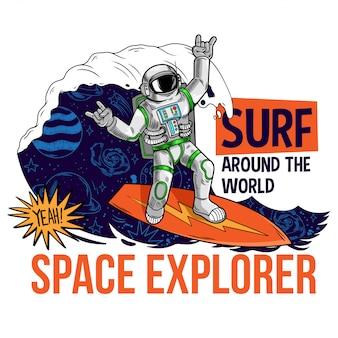 Grawerowanie fajnego kolesia w skafandrze kosmicznym astronauta lecący z tego świata w przestrzeni między gwiazdami galaktyki planet. t-shirt z nadrukiem do komiksu dla dzieci.