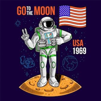Grawerowanie fajny koleś w skafandrze kosmicznym astronauta trzyma amerykańską flagę usa na księżycu.