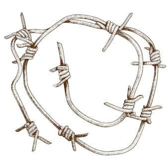 Grawerowanie ilustracja kawałek drutu kolczastego