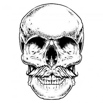 Grawerowanie ilustracja wąsy czaszki