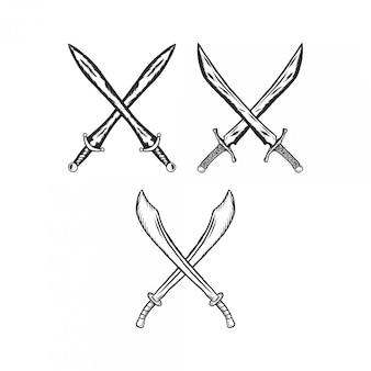 Grawerowanie krzyż miecz vintage ilustracji
